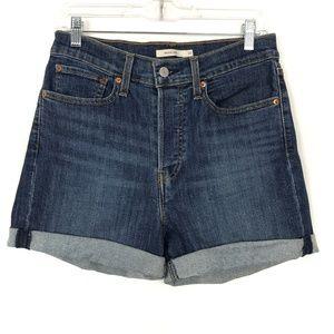 Levi's Wedgie Cuffed Blue Denim Shorts Size 30